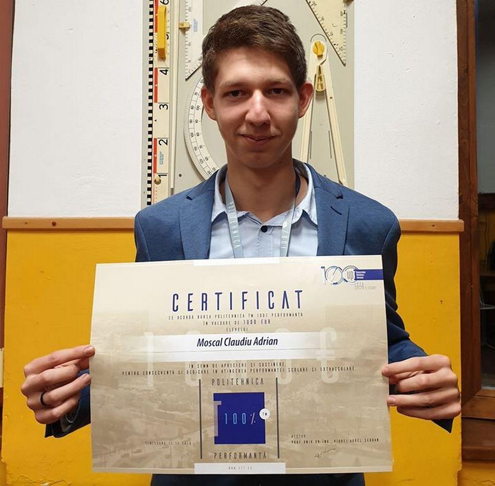 Elev pecican printre cei 100 de tineri premiați de Universitatea Politehnică Timișoara