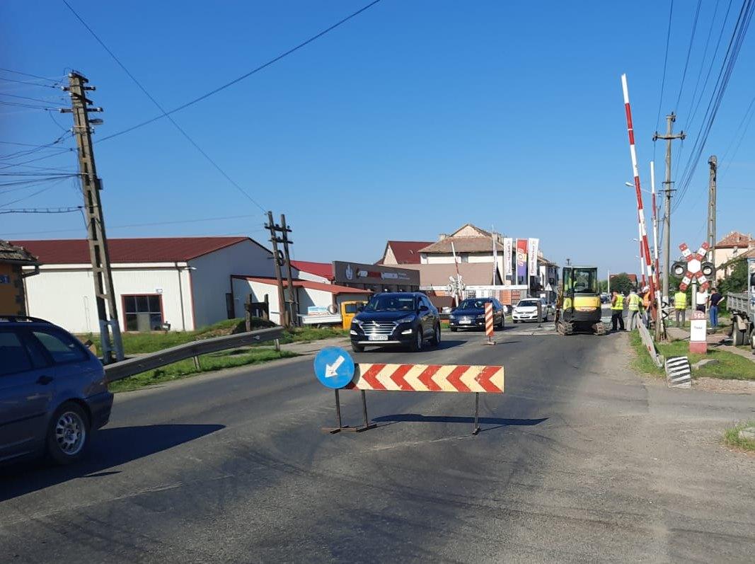 Lucrări la intrarea în Pecica dinspre Arad