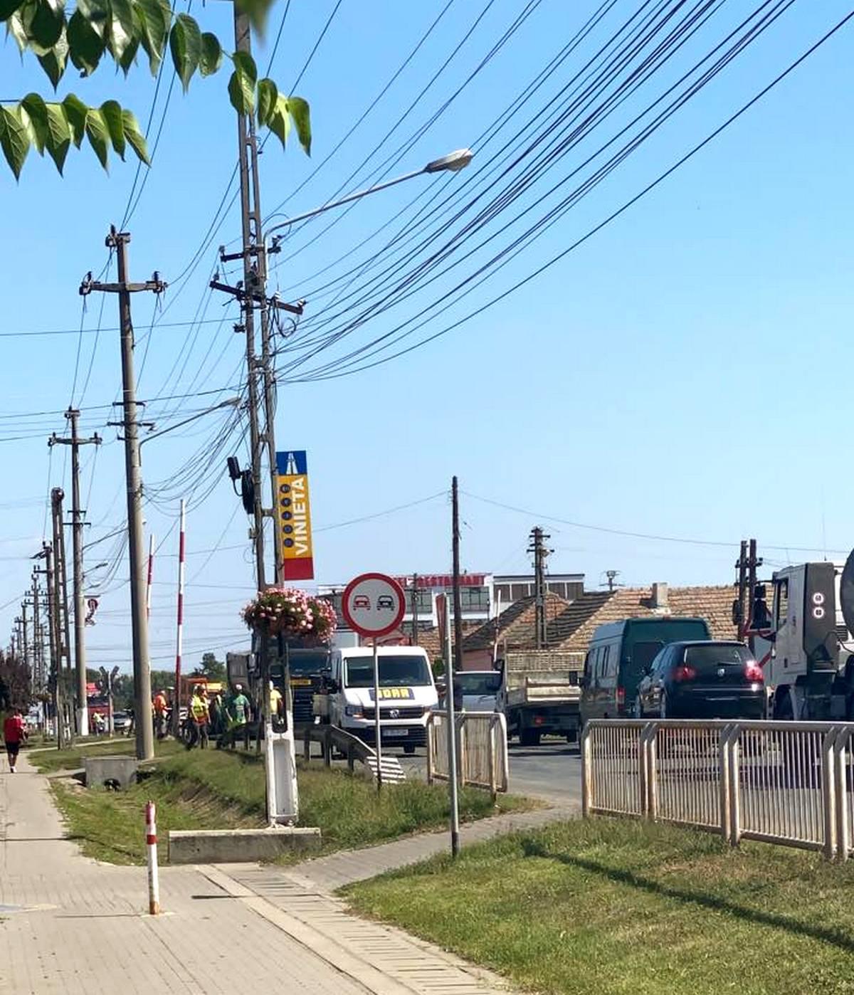 Lucrări pe DN7, la intrarea în Pecica dinspre Arad