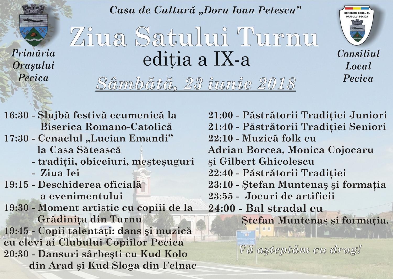Sâmbătă se sărbătoreşte Ziua Satului Turnu, ediția a IX-a