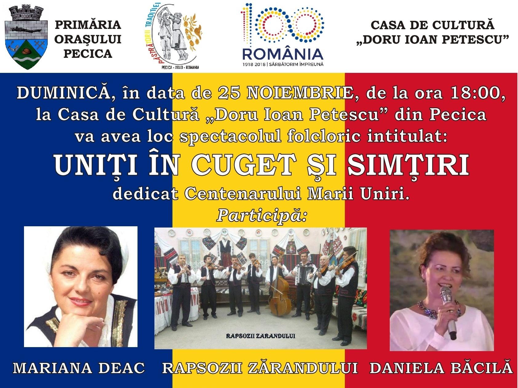 Spectacol folcloric dedicat Centenarului Marii Uniri