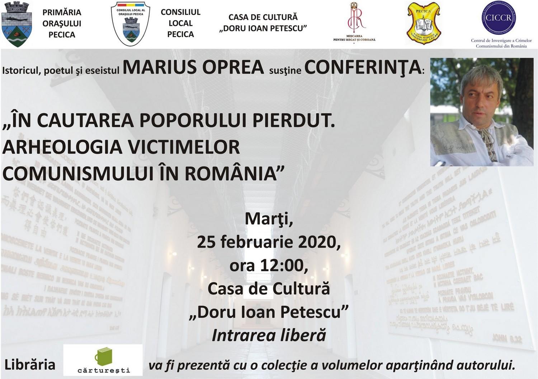 Istoricul Marius Oprea susține marți, la Pecica, o conferință despre victimele comunismului