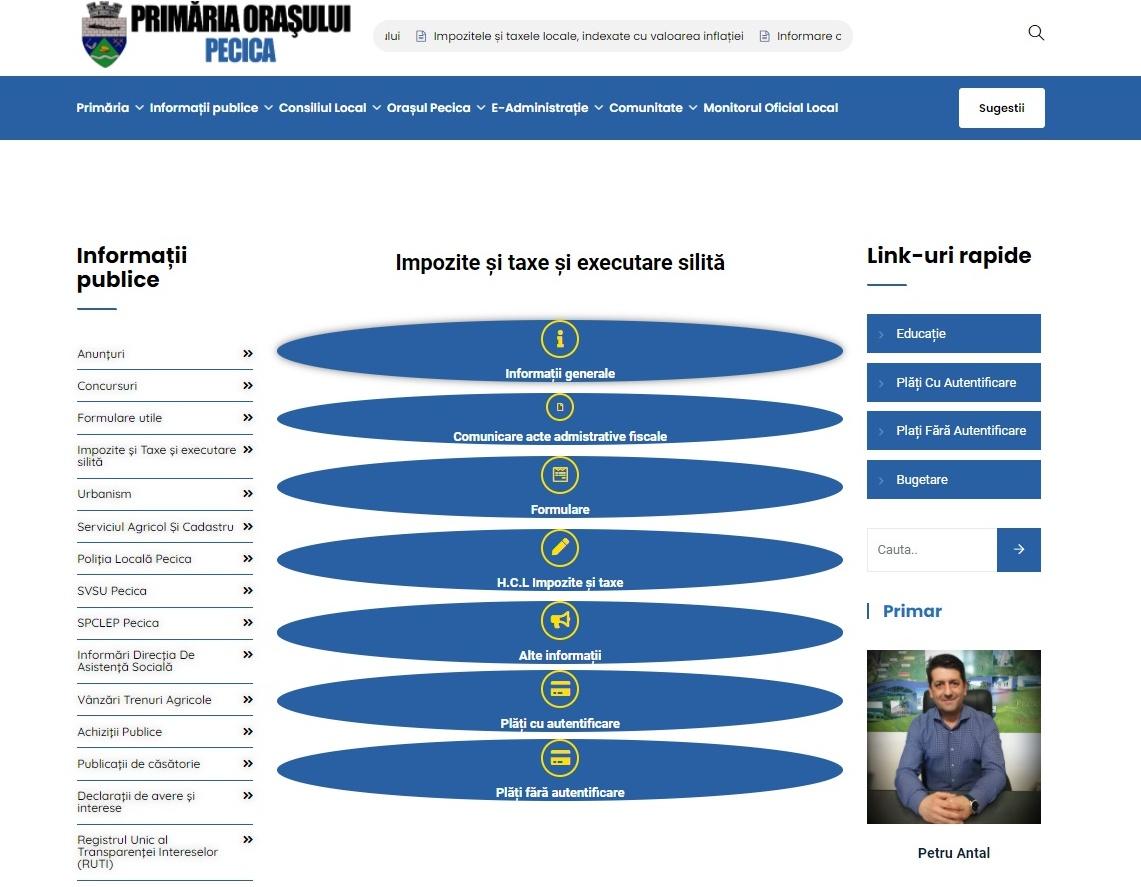 Pecicanii, încurajați să achitele taxele și impozitele locale online