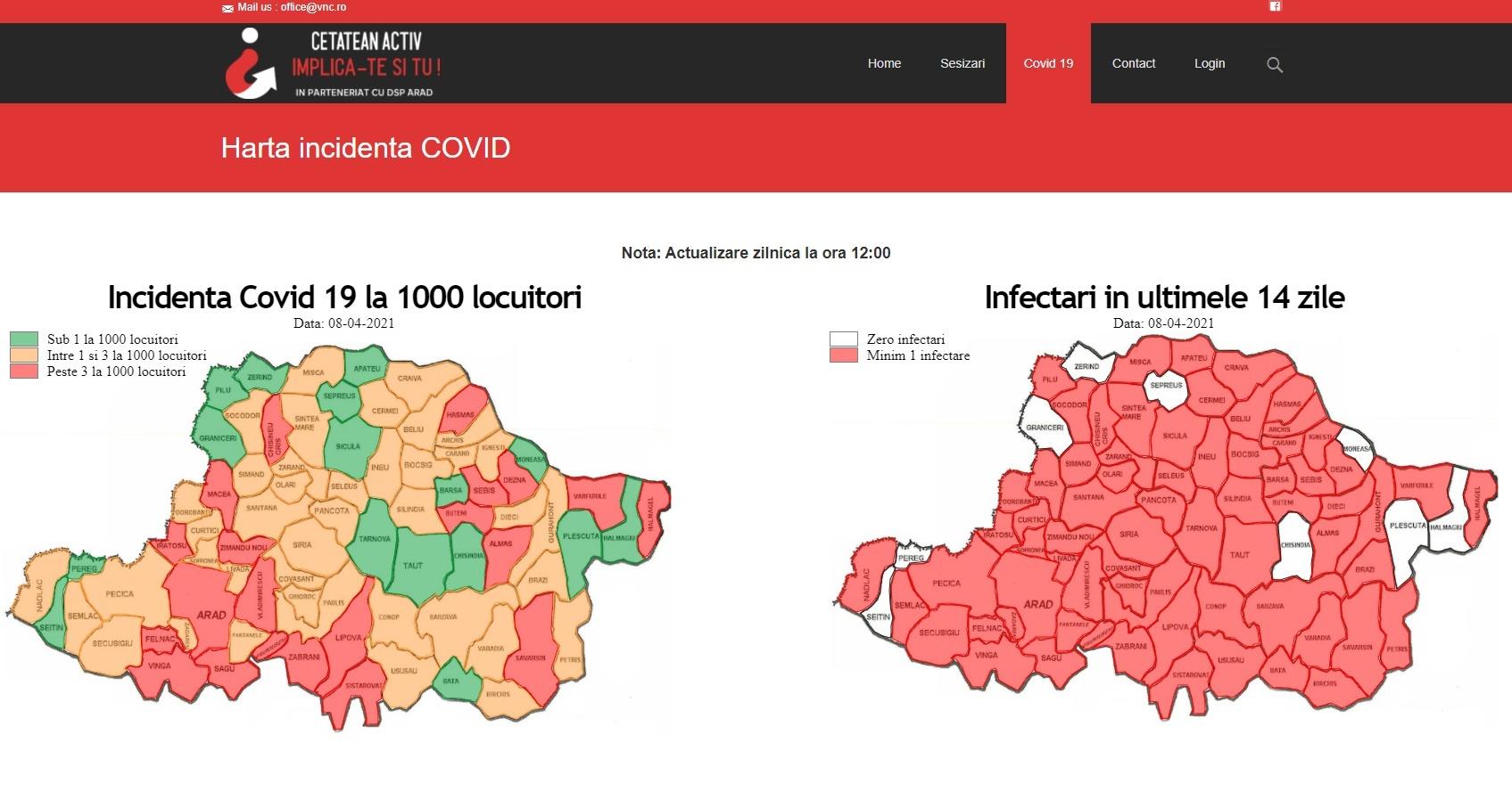 Pagină web cu numărul cazurilor de COVID-19 în timp real